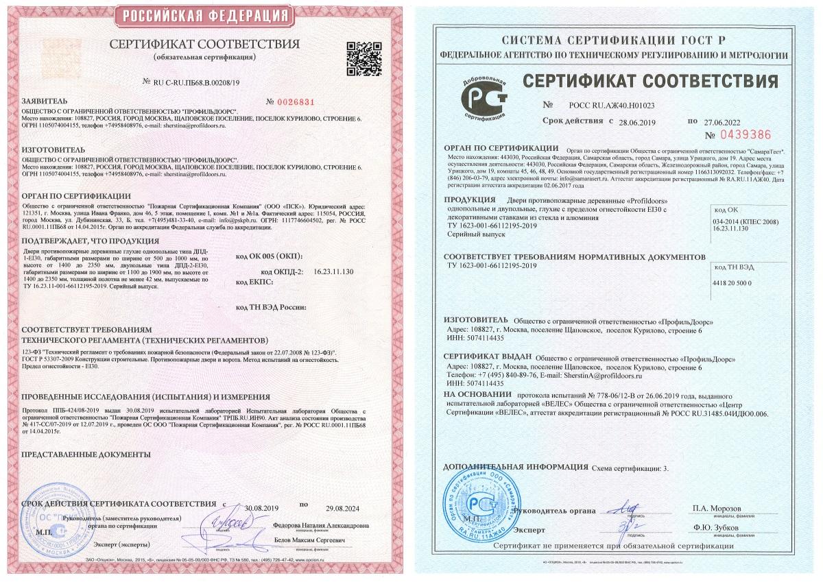 Противопожарный сертификат на двери