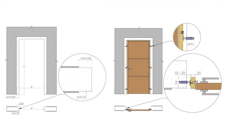 скрытая дверь установка