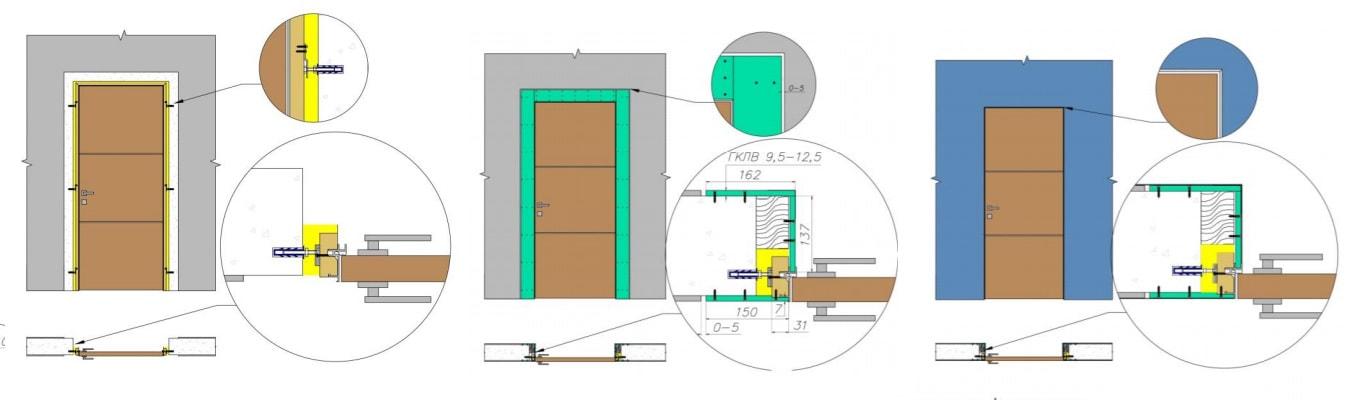 скрытая дверь схема установки